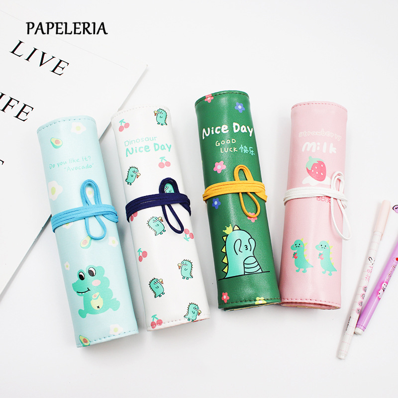 Canvas Wrap Roll Up Pencil Bag Pen Case Holder Storage Pouch Writing Supplies for Girls Boys Stationery Gifts