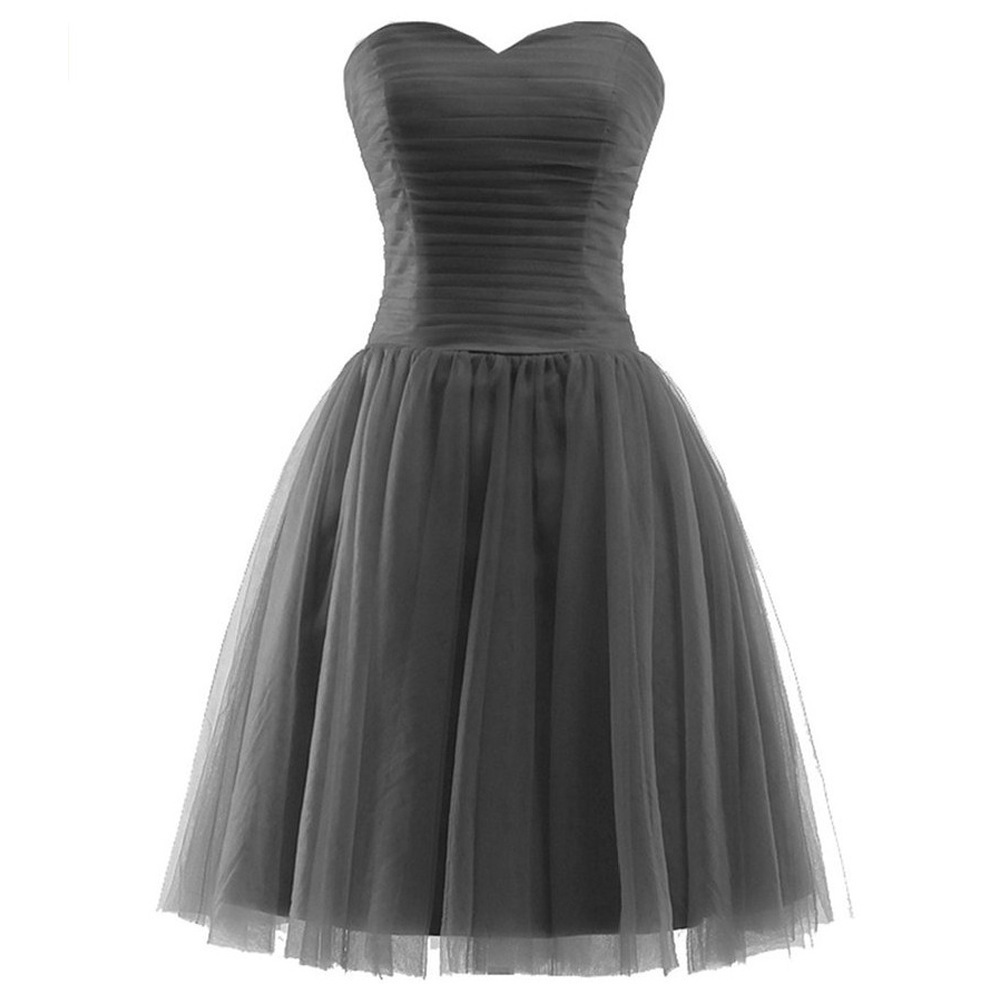 Stock Tulle  A Line Sweetheart Pleat Knee Length Bridesmaid Dresses Wedding Party Dresses  Robe De Soiree Lace Up