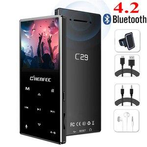 Image 1 - Reproductor MP3 Bluetooth, botón táctil de Metal, compatible con tarjeta SD, reproductor de música HIFI sin pérdidas MP3 con Radio FM, grabadora de voz, E book