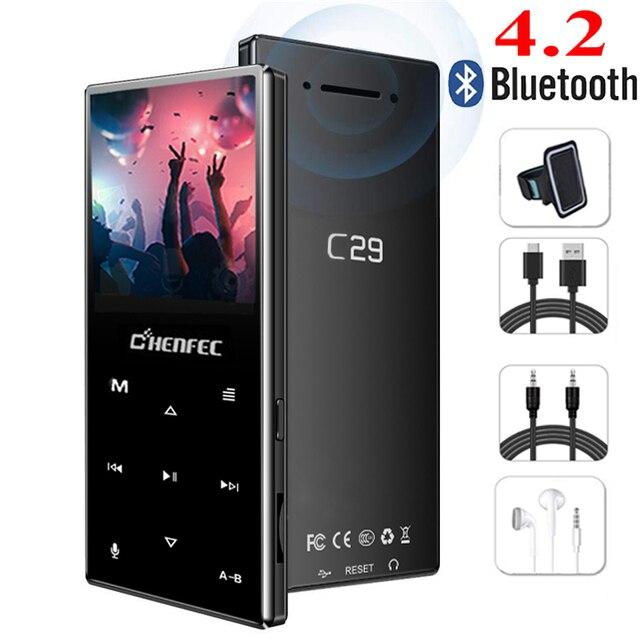 Reproductor MP3 Bluetooth, botón táctil de Metal, compatible con tarjeta SD, reproductor de música HIFI sin pérdidas MP3 con Radio FM, grabadora de voz, E book