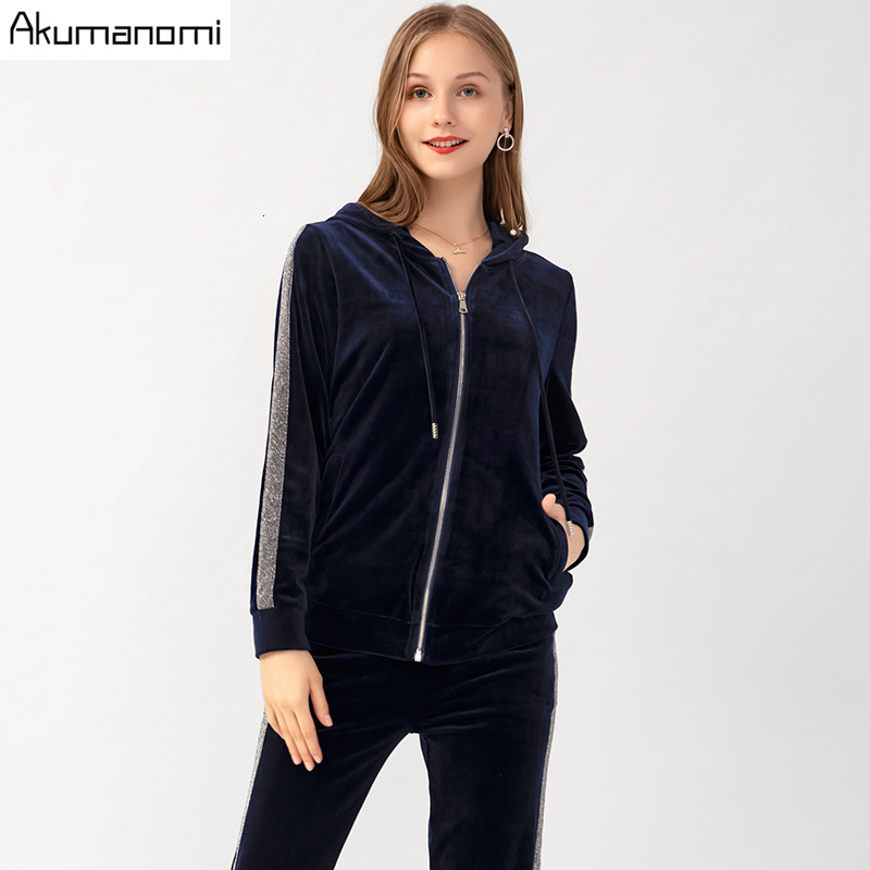 Velvet Velour 2 Piece Set Women Autumn Plus Size 5xl-l Pants And Hooded Tops Full Sleeve Trousers Two Piece Outfits Sweatsuit