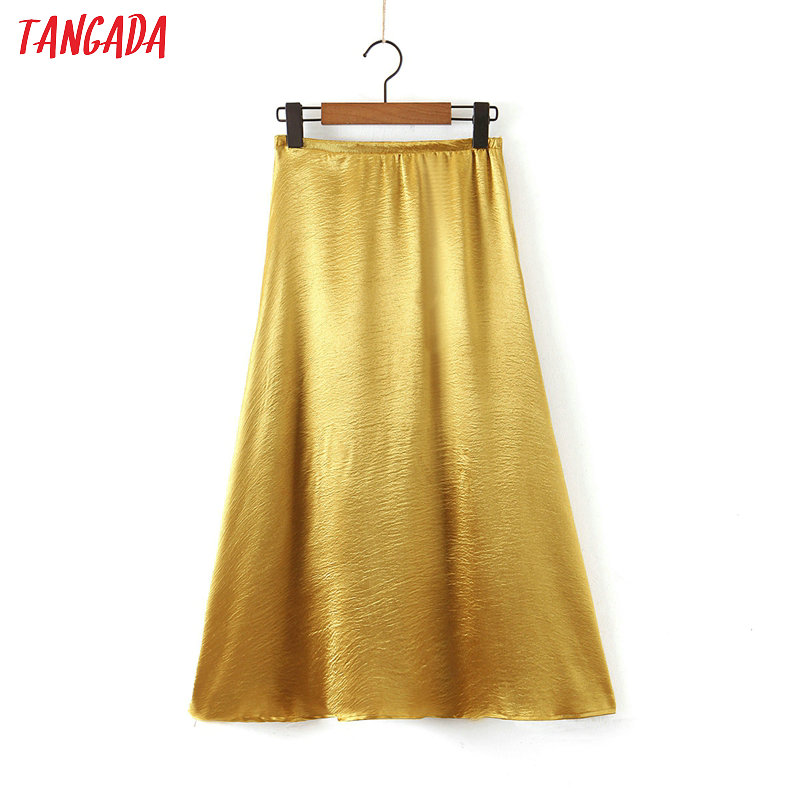Tangada Women Golden A-line Midi Skirt Faldas Mujer Vintage Office Ladies Elegant Chic Mid Calf Skirts SL91