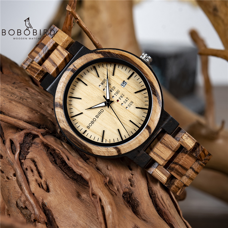 BOBO BIRD Men Wristwatches Quartz Movement Complete Calendar Wood Watch Week Display relogio masculino in Gift Box L-O26