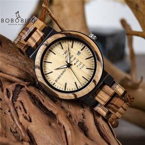 Image 1 - BOBO BIRD męskie zegarki na rękę mechanizm kwarcowy kompletny kalendarz drewniany zegarek wyświetlacz tygodnia relogio masculino w pudełku