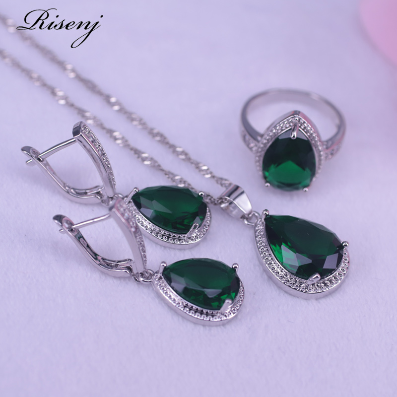 Big Water Drop Square Green Stone Silver 925 Jewelry For Women Ring Necklace Earring Set Russian Hot Sale Style