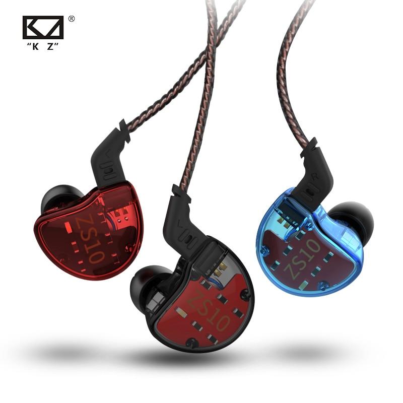 KZ ZS10 Earphones 4BA 1 DD Hybrid In Ear Headphone HIFI Bass Headset DJ Monitor Earphone Earbuds KZ ZS6 AS10 ZST ES4 ED16 BA10