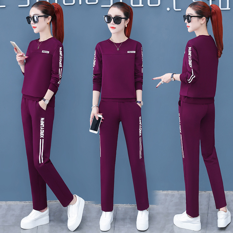Sports Clothing Set Middle-aged 2020 New Style Summer Wear Long-sleeved T-shirt Mom Spring And Autumn Casual Two-Piece Set-Style