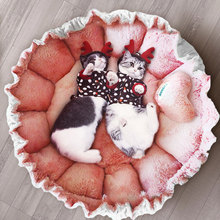 HOOPET Lace Cat Cute Pink Bed Warm Puppy Dog Mat Lovely Nest Kennel Sofa House Sleeping Bag