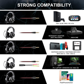 Oneodio A71 Gaming Headset Studio DJ Headphones Stereo Over Ear Wired Headphone With Microphone For PC PS4 Xbox One Gamer 6