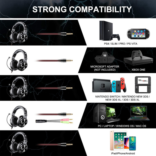 Oneodio A71 Gaming DJ Headphone With Microphone For PC PS4 Xbox One Gamer 6