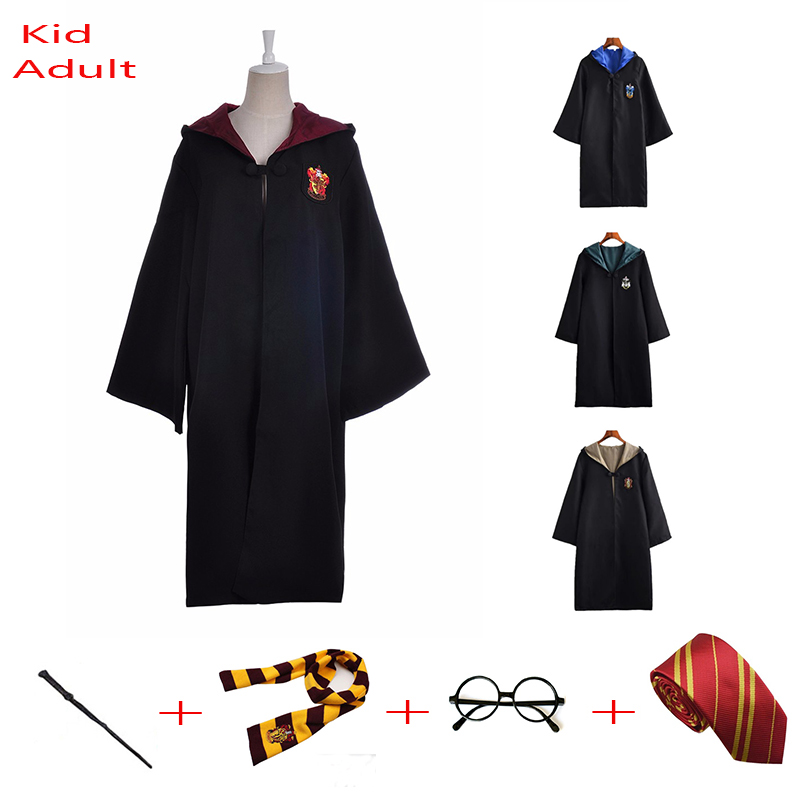 Robe Cloak Cape Suit Tie Scarf And Glasses Ravenclaw Gryffindor Hufflepuff Slytherin Cosplay Potter Costume Malfoy Suit