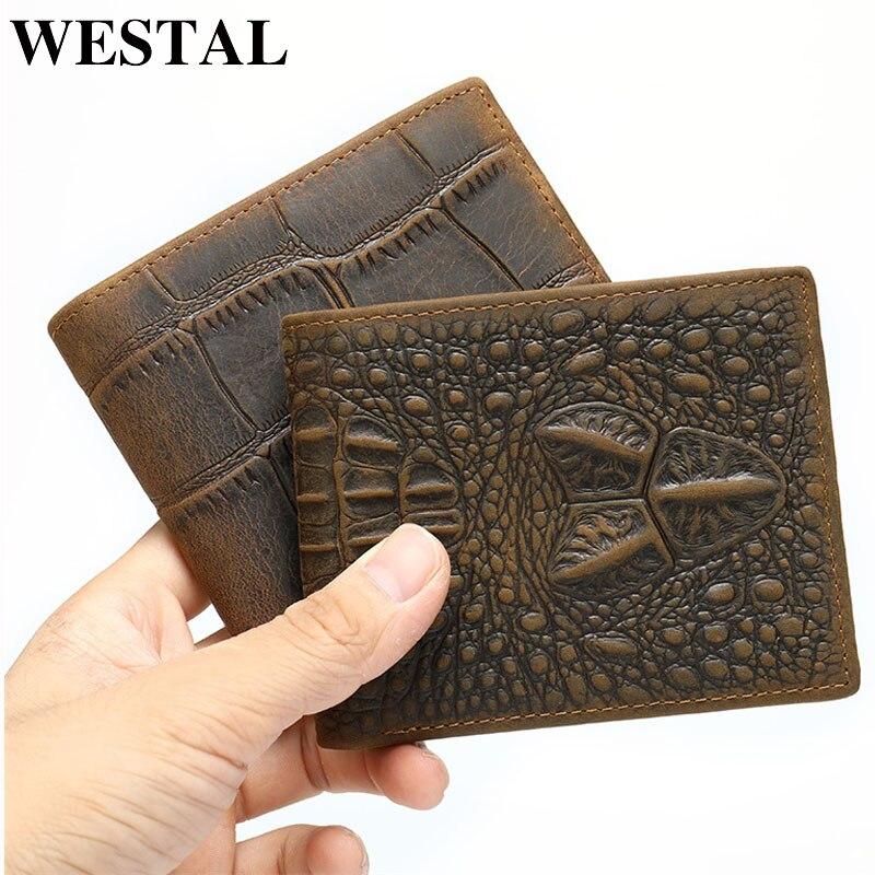 WETSAL Croco Pattern Men's Wallet Genuine Leather Wallet Male Purse For Card Short/Slim Wallets Leather Man Cardholder Money Bag