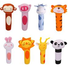 Baby Cute Cartoon Shape Soft Hand Rattle with Sound Gripping Toy Cradle Ornament Kids Educational Toys for Children Gifts