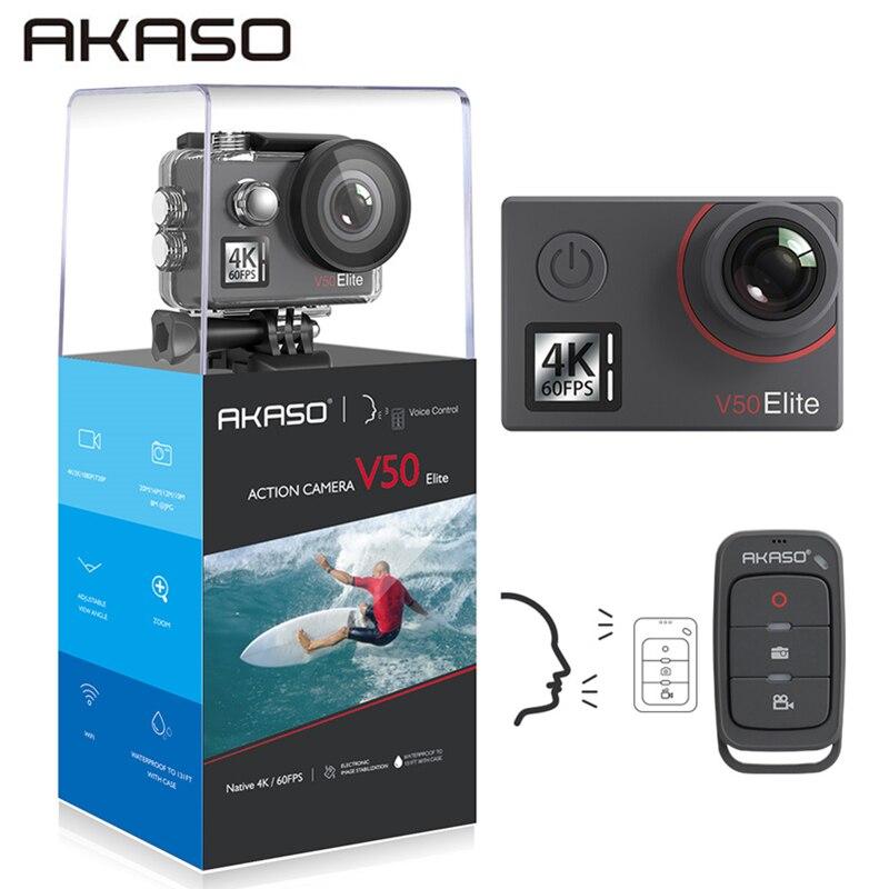 AKASO V50 Elite 4 K/60fps écran tactile WiFi Action caméra commande vocale EIS 40m étanche caméra sport caméra avec casque