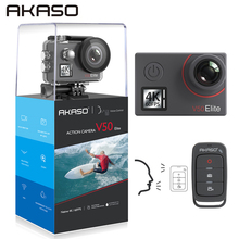 лучшая цена AKASO V50 Elite 4K/60fps Touch Screen WiFi Action Camera Voice Control EIS 40m Waterproof Camera Sports Camera  with Helmet
