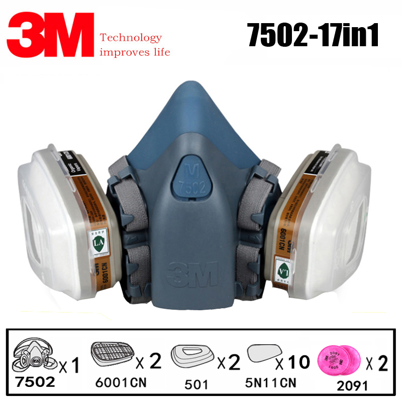 3M 7502 Respirator Mask 17 In 1 Suit Industry Painting Spray Dust Gas Mask With 3M 501 5N11 6001CN Chemcial Half Face Mask