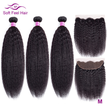 Soft Feel Hair Brazilian Kinky Straight Hair With Frontal Human Hair Bundles With Frontal Remy Lace Frontal Closure With Bundles