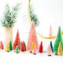Mini árbol de Navidad Artificial de mesa, árbol de pino Artificial de Sisal de seda, artesanía de cedro, ornamento de Navidad artesanal, decoración de Año Nuevo