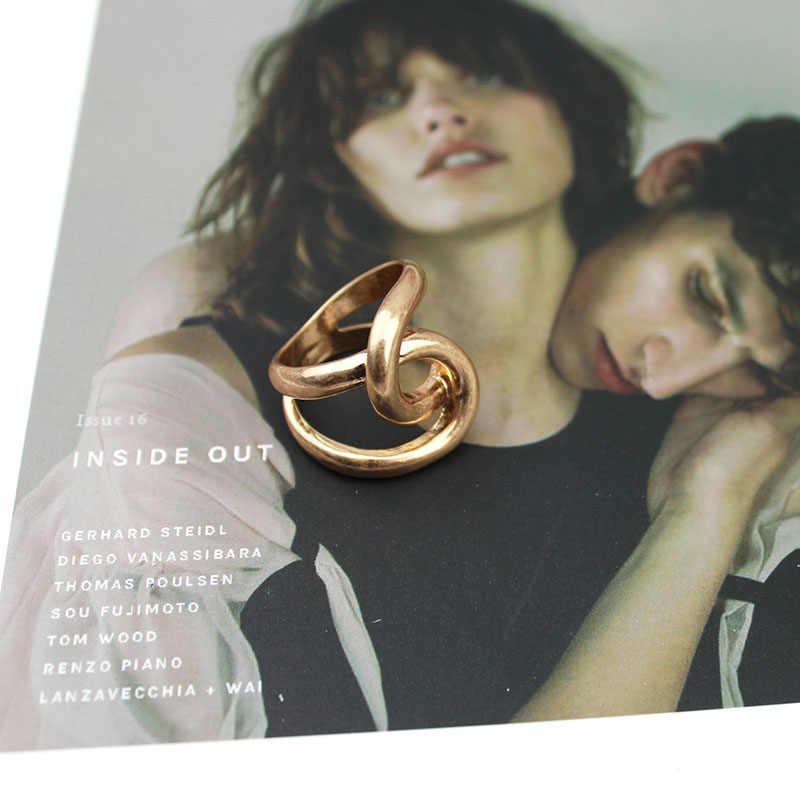 SRCOI Twisted ไม่สม่ำเสมอ Curve ข้ามแหวนโลหะ 2020 ใหม่ Simpleness Punk แหวนสำหรับผู้หญิงงานแต่งงานของขวัญเครื่องประดับ