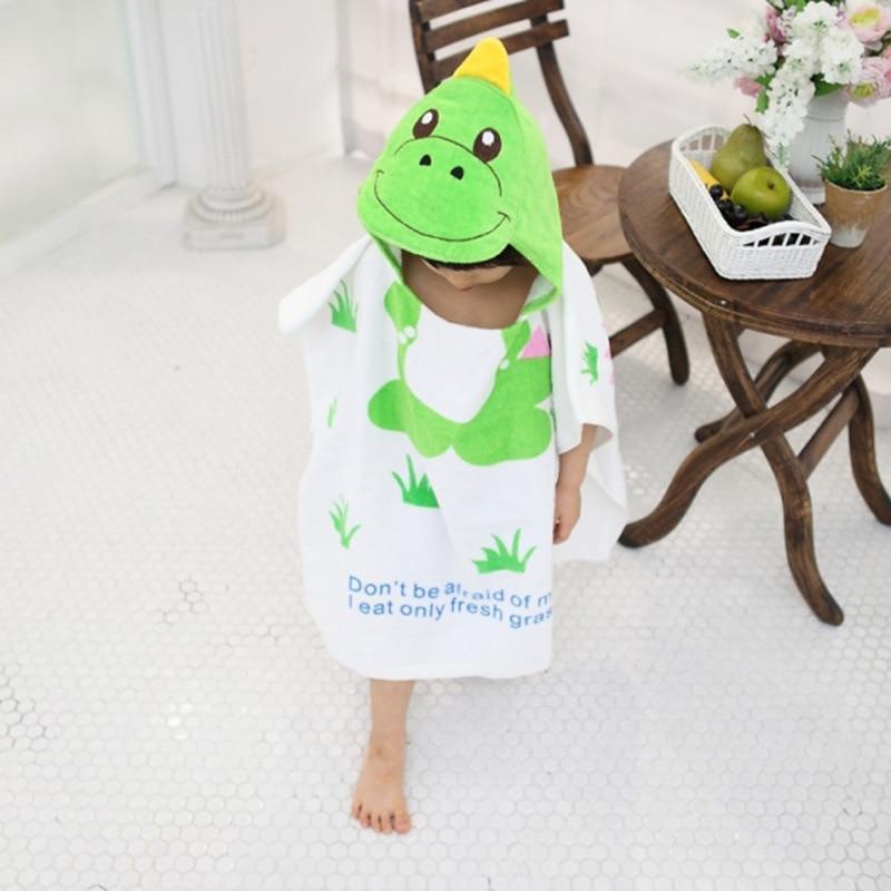 Children Dinosaur Hooded Bath Towel CHILDREN'S Bathrobes Mantle Swimming Beach Beach Towel Cotton