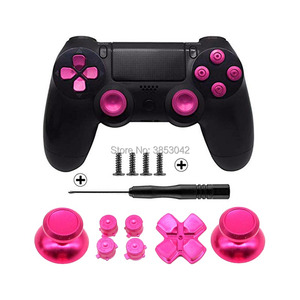 Image 5 - Metal Buttons Set Chrome Analog Thumbsticks For Playstation 4 D Pad for PS4 Controller Joystick Repair Game Accessories
