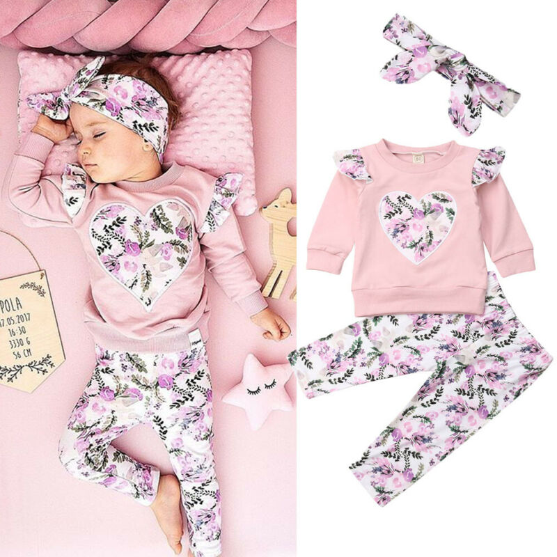 1-6T Toddler Kids Baby Girls Outfit Clothes T-shirt Tops+Long Pants Trousers Set