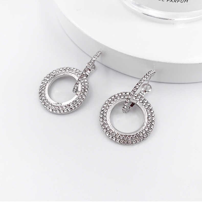 ออกแบบใหม่แฟชั่นแขวนต่างหูเรขาคณิตรอบ rhinestone ต่างหูผู้หญิงเครื่องประดับขายส่ง