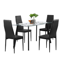 【US Warehouse】Hot 5 Piece Dining Table Set 4 Chairs Glass Metal Kitchen Room Furniture Black