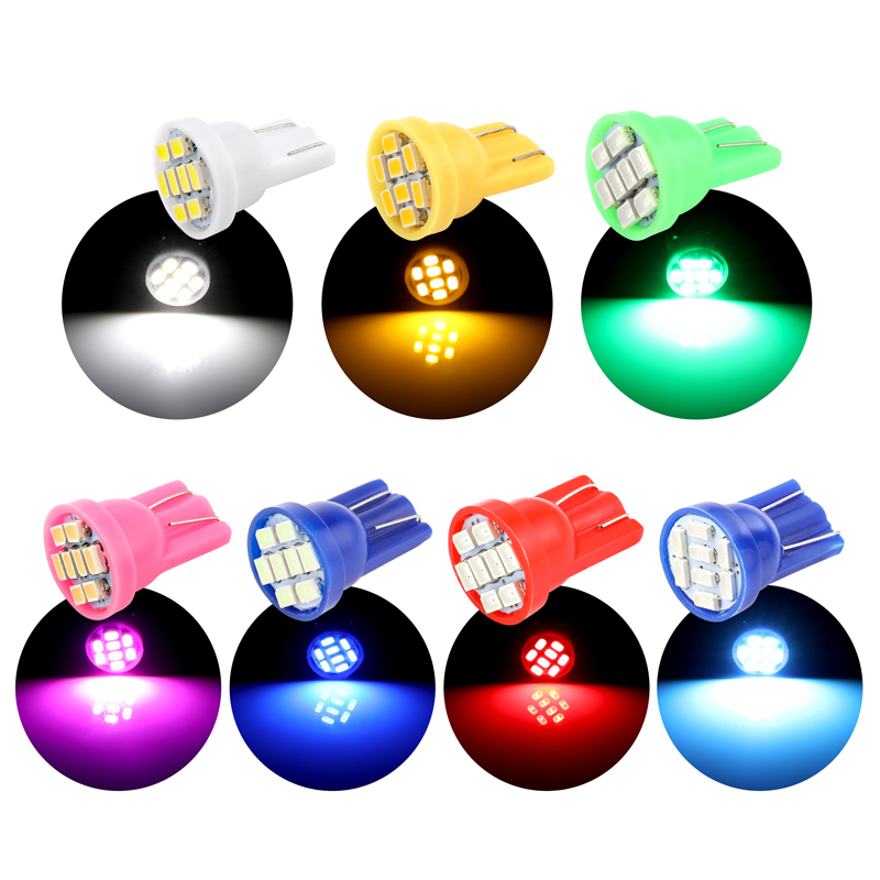 10PCS <font><b>T10</b></font> 8SMD <font><b>LED</b></font> Light Bulb Dome Light Super Bright Brake Lights Auto Backup Reverse Lamp Car Tail Bulb red white yellow <font><b>blue</b></font> image