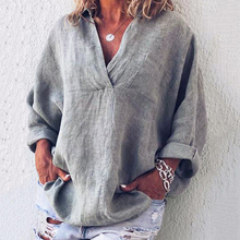 Women casual long sleeves Shirt and Blouses 2019 Spring Casual Loose Solid Color Shirt Fashion V neck Summer Women Clothing casual solid color long sleeves loose fitting shirt for women