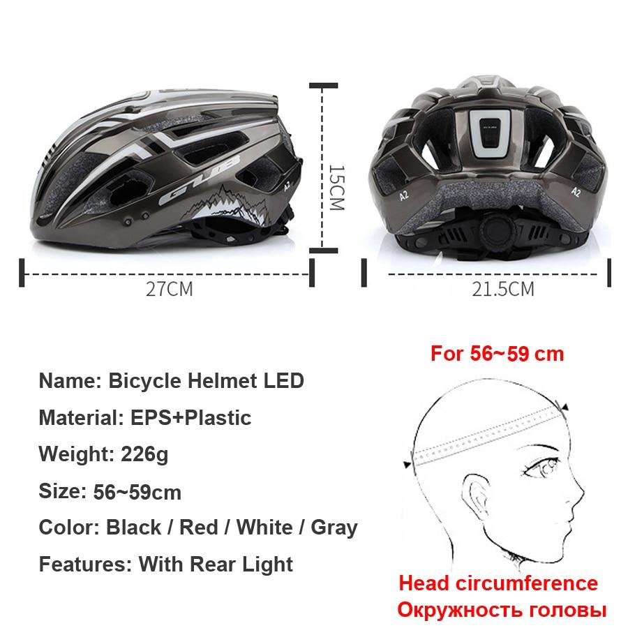 Nouveau casque de vélo lumière LED Rechargeable Intergrally-moulé casque de cyclisme route de montagne casque de vélo Sport chapeau de sécurité pour homme