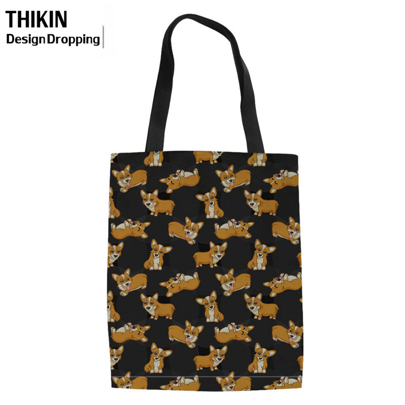 THIKIN Women's Pocket Shopping Bags Cute Corgi Printing Shoulder Handbag Ladies Heavy Duty Canvas Shopper Bag Reusable Eco Tote