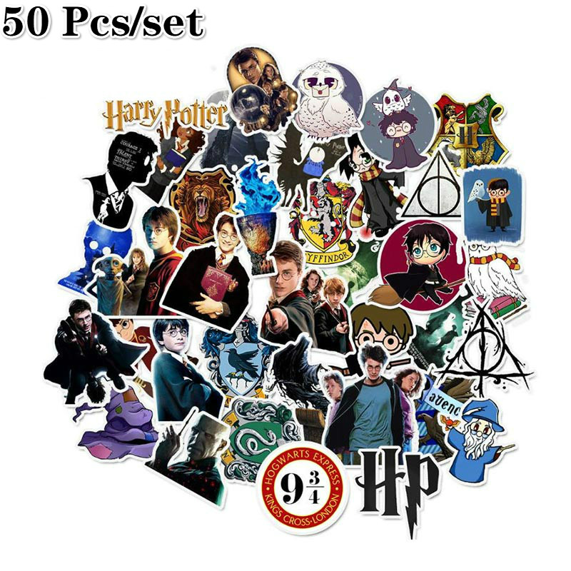 50pcs/set Pack Harrys Potters Stickers Set Stickers For Kids Luggage Skateboard Laptop Cartoon Movies Stickers For Children