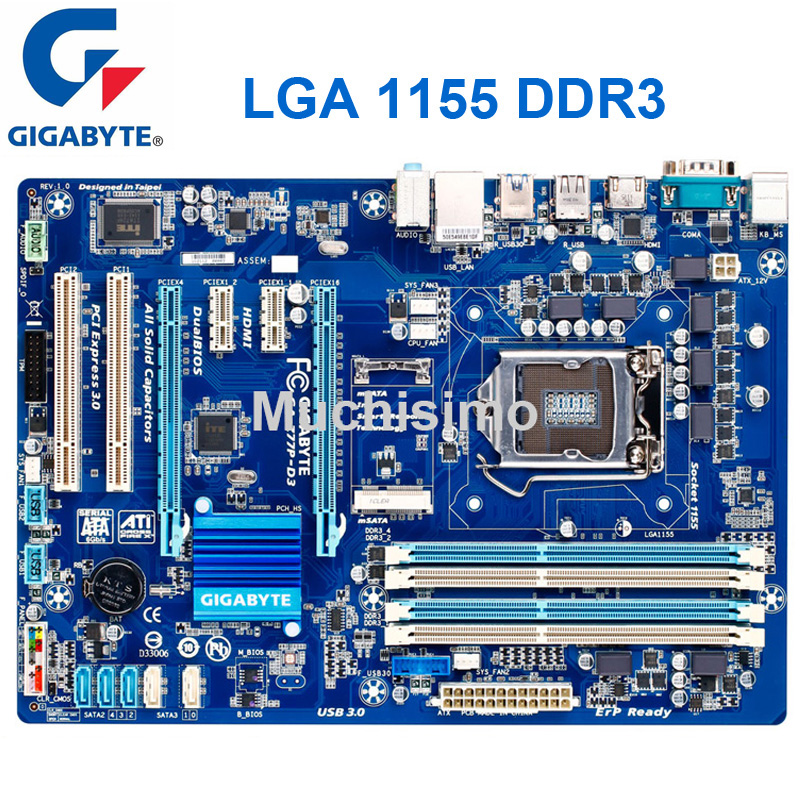 <font><b>Motherboard</b></font> PC <font><b>Gigabyte</b></font> GA-Z77P-D3 LGA 1155 DDR3 Z77P-D3 Boards HDMI USB2.0 USB3.0 32GB <font><b>Z77</b></font> Refurbish Desktop <font><b>motherboard</b></font> Boards image