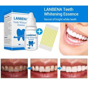LanBeNA 10ml Oral Hygiene Teeth Whitening Essence Tooth Bleaching Dental Toothpaste +10x Cotton swab