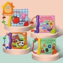 0-12 monate Baby Tuch Buch Rassel Beißring Spielzeug Bunte Nette Tier Weiche Quiet Bücher Frühen Bildungs Lernen Spielzeug für Infant