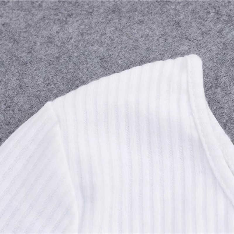 Bigsweety Atasan Wanita Seksi Satu Bahu Lengan Panjang Kamisol Femal Tanaman Tops Elastis Pendek Merajut Dipotong Cami Tees Streetwear