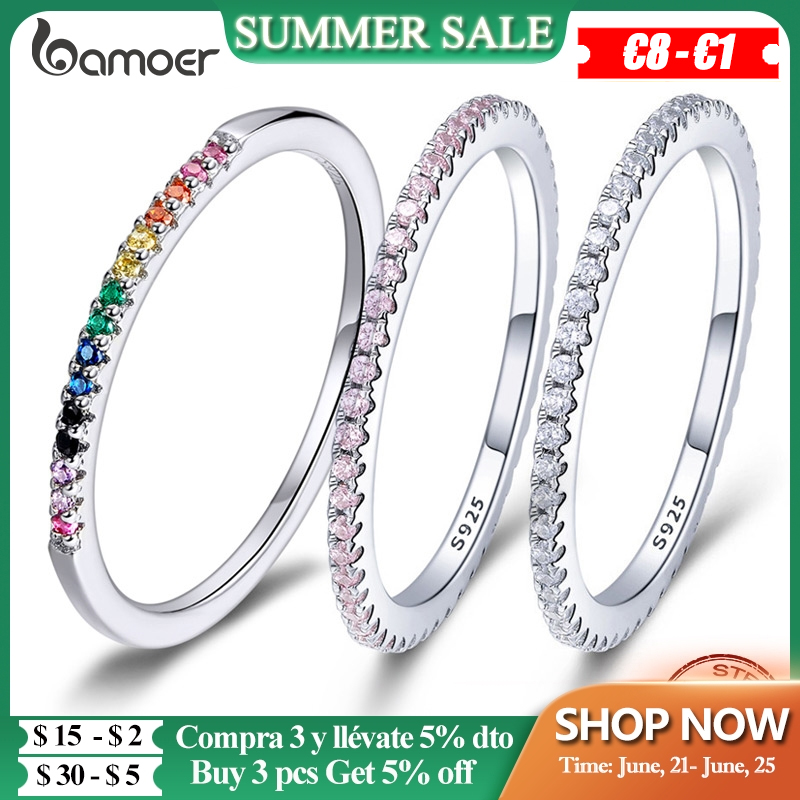 BAMOER 925 Sterling Silver Pink Crystal Wedding Female Rings for Women Simple Geometric Ring Sterling Silver Jewelry SCR066