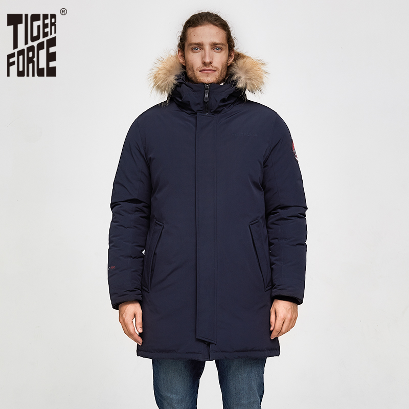 Tiger Force Men Winter Jacket Outdoor Alaska Snowjacket Male Thicken Medium-long Warm Coat  With Hooded Real Fur Overcoat