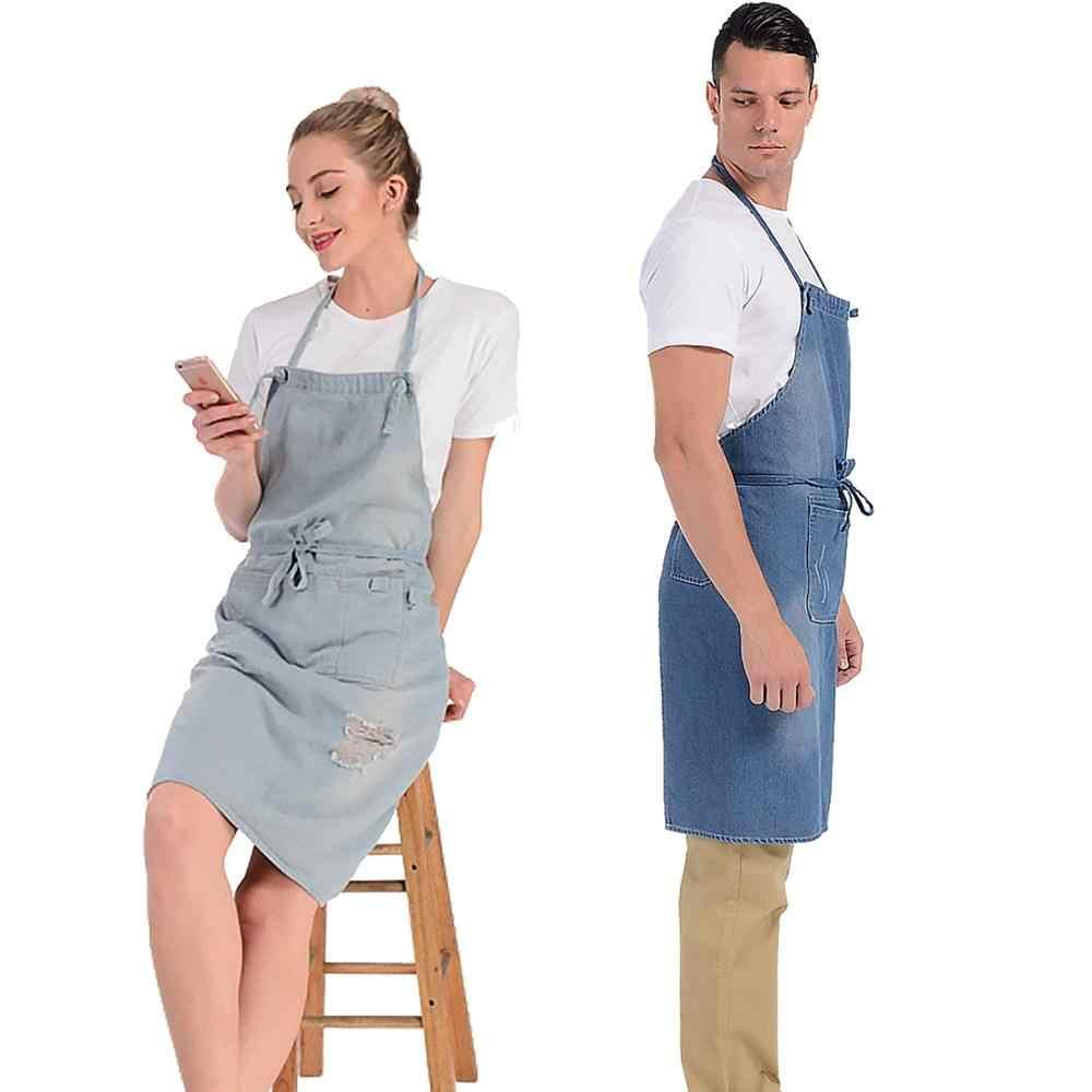 חדש יוניסקס ג 'ינס ביב סינרי במצוקה כותנה סינר עם 3 כיסים לבישול ציור אפיית קפה פרח חנות עבודה אחיד