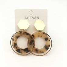 Acrylic earring Bohemia acetate  Resin Drop Earrings Leopard Print Round Dangle