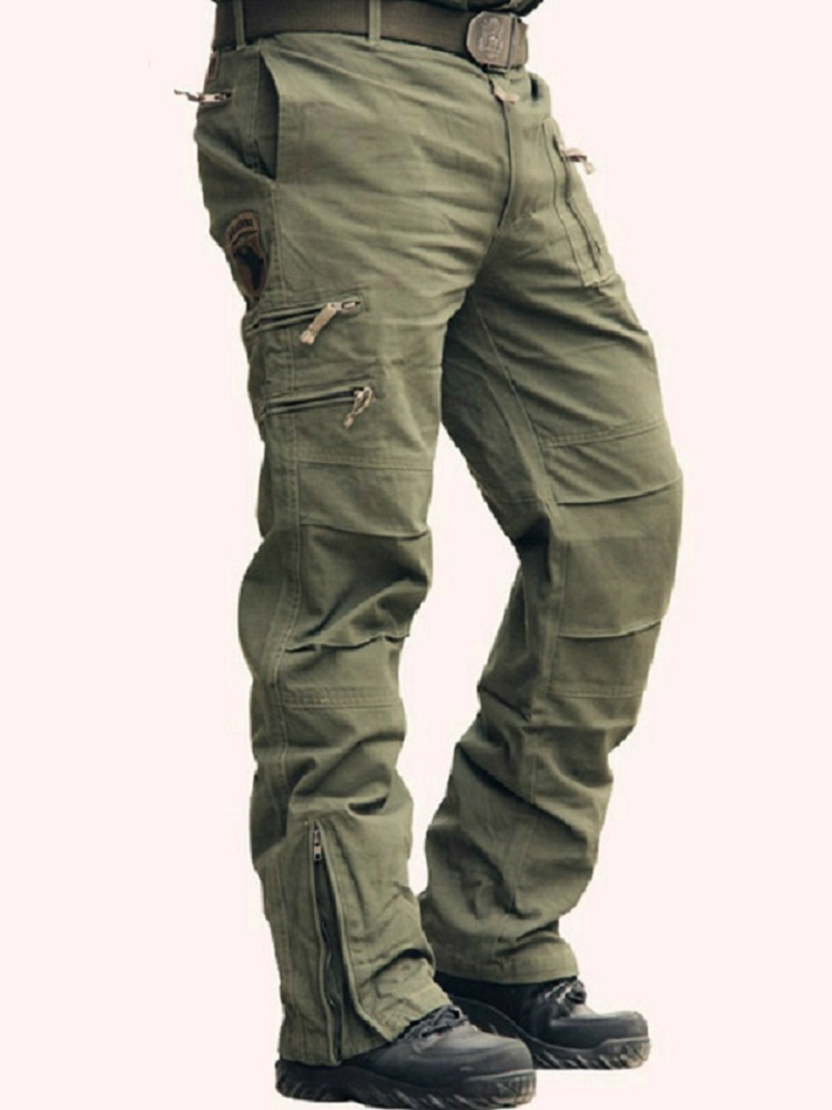 Black Trousers Cargo-Pants Pocket Jogger Military-Style Army Camouflage Men's Many Cotton