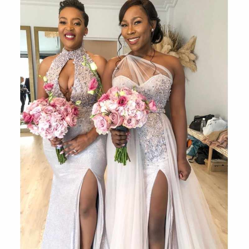 Two Styles Nigeria African Mermaid Bridesmaid Dresses Plus Size Beads Applique Maid Of The Honor Side Slit Wedding Guest Dress Aliexpress,Puerto Rico Wedding Dresses