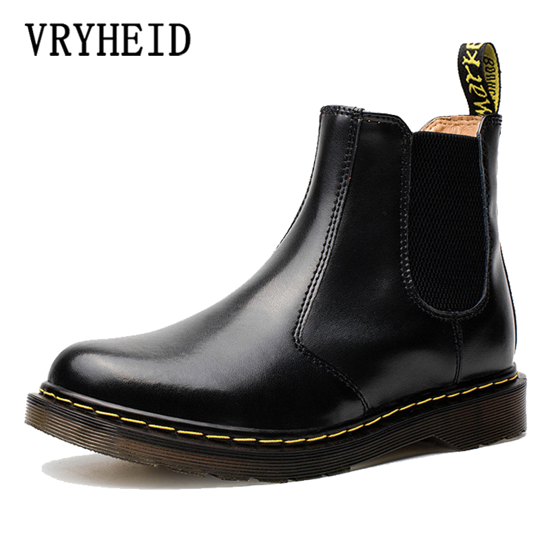 VRYHEID Men Women Rain Boots Chelsea Boots For Man Slip-on Genuine Leather Waterproof Ankle Boots Winter Warm Men Shoes Rainboot