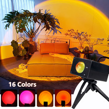 16 Color Sunset Projection USB Colorful Sunset Night Light For Bedroom Bar Cafe Shop Background Wall Decoration Lighting