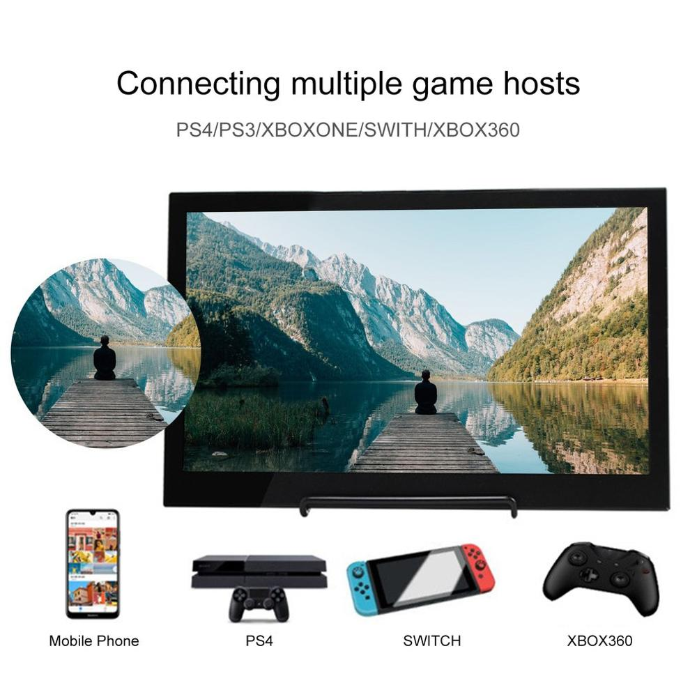 13.3 Inch Portable Monitor HDMI 1920x1080 HD IPS Display Computer LED Monitor With Leather Case For PS4 Pro/Xbox/Phone Hot
