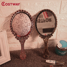 Costway Mini Portable Vintage Mirror Handhold Makeup Mirror Floral Oval Round Cosmetic Hand Held Mirror With Handle For Women