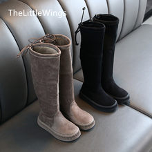 Girls' Knee Boots 2019 winter new fashion Korean suede warm high boots children's Keep warm boots 4-15 years old(China)