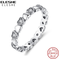 ELESHE Genuine 925 Sterling Silver Stackable Ring Heart Clear CZ Finger Rings for Women Girls Wedding Engagement Jewelry Anel