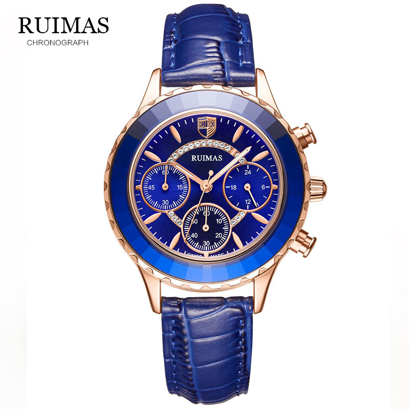 RUIMAS Women Watches Luxury Brand Blue Classic Chronograph Guessing Watch Waterproof Leather Quartz Ladies Wrist Watch Clocks